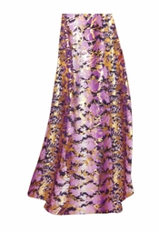 SALE! Customizable Purple With Gold Metallic Slinky Print Plus Size & Supersize Skirts - Sizes Lg to 9x