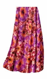 SALE! Customizable Red, Orange & Purple Tye Dye Bursts Slinky Print Plus Size & Supersize Skirts - Sizes Lg to 9x