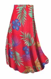 SALE! Customizable Red With Blue Tropical Flowers Slinky Print Plus Size & Supersize Skirts - Sizes Lg to 9x