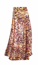 SALE! Customizable Salmon Red Ornate With Gold Metallic Slinky Print Plus Size & Supersize Skirts - Sizes Lg to 9x