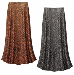 SALE! Customizable Shimmery Leopard Slinky Print Plus Size & Supersize Skirts - Sizes Lg XL 1x 2x 3x 4x 5x 6x 7x 8x 9x