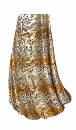 SOLD OUT! SALE! Customizable Tan With Gold Metallic Little Leopard Spots Horizontal Slinky Print Plus Size & Supersize Skirts - Sizes Lg to 9x