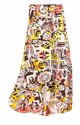 SALE! Customizable Yellow & Black Diamond & Daisy Ganado Tribal Slinky Print Plus Size & Supersize Skirts - Sizes Lg to 9x