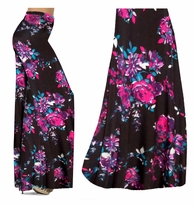 SALE! Black With Fuschia Rose Buds Slinky Print Special Order Plus Size Palazzos and Skirts 1x 2x