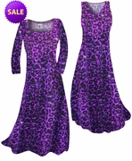 SALE! Customize Purple Leopard Glittery Slinky Print Plus Size A-Line Dresses 0x 1x
