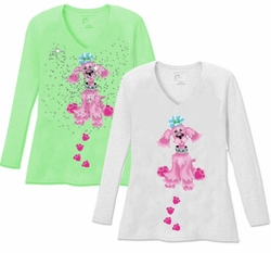 SALE! Cutest Pink Puppy with Blue Bow V Neck / Round Neck Long Sleeve Plus Size Shirt White Lime 4x 5x