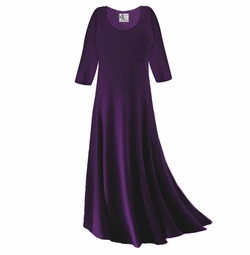 CLEARANCE! Dark Purple Slinky Plus Size & Supersize Sleeve Dress 1x
