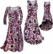 SALE! Dark Purple Wine and Sand Tye Dye Slinky Print Plus Size & Supersize Standard A-Line Dress 1x