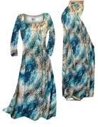 SALE! Dark Teal Lagoon Lines Slinky Print Special Order Plus Size & Supersize Palazzo Pants and Dresses 0x 1x 2x 8x