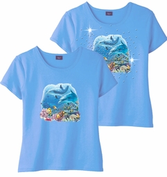 FINAL SALE! Shipwreck Dolphin Family Light Blue & Add Rhinestuds Round Neck Petite Plus Size T-Shirt 2x 3x
