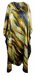 SALE! Plus Size Earth Tones Abstract Print Long Caftan Dress or Shirt 1x-6x