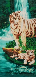 "SALE! Large Oversize Soft Cotton Velour Tiger Oasis Print Beach Towel! 27"" x 54"""