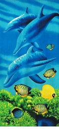 "SOLD OUT! Large Oversize Soft Cotton Velour Dolphins Print Beach Towel! 27"" x 54"""