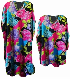 SALE! Fabulous Hot Pink Black & Blue Poly/Satin Plus Size & Supersize Caftan Dress or Shirt 1x to 6x