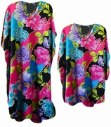 FINAL SALE! Fabulous Hot Pink Black & Blue Poly/Satin Plus Size & Supersize Caftan Dress or Shirt 1x to 6x