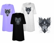 SALE! Faithful Cross Wings Goth Tattoo Print Plus Size & Supersize T-Shirts 5xl Burgundy