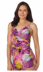 SALE! Tropical Fern Print Surplice Front Plus Size Swimdress 5x