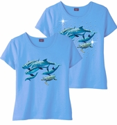 FINAL SALE! Five Swimming Dolphins & Add Rhinestuds Light Blue Round Neck Petite Plus Size T-Shirt 2x 3x