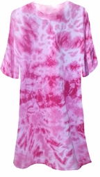 CLEARANCE! Fuchsia Hot Pink Tie Dye Plus Size T-Shirts 2xl