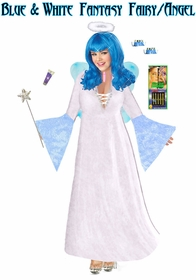 Sale! Full Plus Size & Supersize Blue & White Fairy Angel Costume + Accessory Kit! Fluffy Halo, Mask-or-Makeup and Fairy Wings Lg to 9x