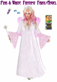 Sale! Full Plus Size & Supersize Pink & White Fairy Angel Costume + Accessory Kit! Fluffy Halo, Mask-or-Makeup and Fairy Wings Lg to 9x