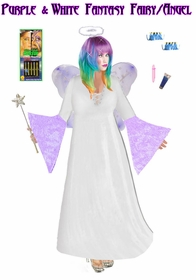 Sale! Full Plus Size & Supersize Purple & White Plus Size Fairy Angel Costume + Accessory Kit! Fluffy Halo, Mask-or-Makeup and Fairy Wings Lg to 9x
