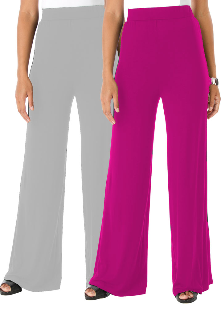 SALE! Fuschia or Gray Plus Size Wide Leg Palazzo Pants 4x