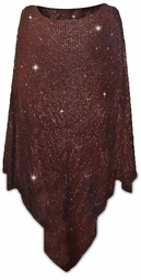SALE! Glittery Brown With Copper Lines Dots Glitter Slinky Plus Size Supersize Poncho