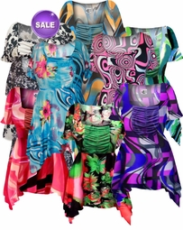 SALE! Gorgeous Colorful Slinky Print Supersize & Plus Size Babydoll Tops 0x 1x 2x 4x 5xT