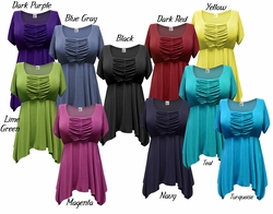 SALE! Gorgeous Colorful Slinky Solid Colors Supersize & Plus Size Babydoll Tops 0x1x3x4x5x7x