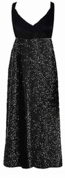 CLEARANCE! Gorgeous Onyx Black Glimmer Plus Size Slinky Black Empire Waist Dress 3x