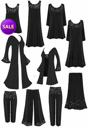 SALE! Gorgeous Slinky or Velvet  Rhinestud Starry Night Plus Size A-Line & Princess Cut Dresses, Tops, Tanks, Pants, Skirts, and Duster Jackets