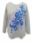SALE! Gray Floral Glittery Long Sleeve Plus Size Shirt 1x