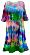 CLEARANCE! Green Blue Purple Pink Tie Dye Plus Size Supersize X-Long T-Shirt 2x