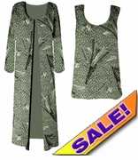 SOLD OUT! FINAL SALE! Green Leopard Feathers Slinky Plus Size Tank Top 1x