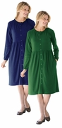 SOLD OUT! SALE! Green or Navy Snap-Front Long Sleeve Plus Size Dress 5x 6x