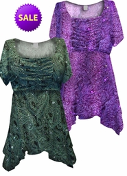 SALE! Green or Purple Paisley Glitter Formal Slinky Print Supersize & Plus Size Babydoll Tops 2x 3x