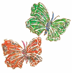 SALE! Green & Orange Glimmering Butterflies Plus Size & Supersize T-Shirts S M L XL 2x 3x 4x 5x 6x 7x 8x (Lights Only)