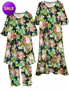SALE! Green, Pink & Black Carnation Garden Print Moo Moo Dress or 2 Piece Top and Pants Set Plus Size & Supersize 5x 6x