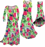 CLEARANCE! Green & Pink Floral Slinky Print Plus Size & Supersize Standard or Cascading A-Line or Princess Cut Dresses 3x