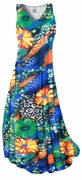 CLEARANCE! Green & Tangerine Orange Floral Speckled Paradise Slinky Print Plus Size & Supersize Dresses 1x