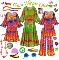 SALE! Heat Wave Print Plus Size Hippie Costume - 60�s Style Retro Dress or Top & Wide-Bottom Pant Set Plus Size & Supersize Halloween Costume Kit Lg XL 0x 1x 2x 3x 4x 5x 6x 7x 8x 9x