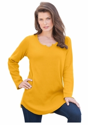 SALE! Honey Mustard Plus Size Thermal Tunic Top 4x