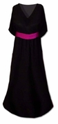 SOLD OUT! CLEARANCE!  Beautiful Black Slinky Plus Size Supersize V-Neck Dress With Contrasting Belt 7x