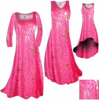 SALE! Hot Pink & Gold Metallic Shiny Slinky Print Plus Size & Supersize A-Line Dresses 0x 2x 3x 5x