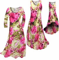 SALE! Hot Pink & Olive Green Tie Dye Slinky Print Plus Size & Supersize A-Line Dresses or Pants 0x 1x 3x