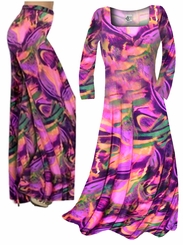 CLEARANCE! Hot Pink, Orange and Purple Wild Print Slinky Plus Size & Supersize Dresses & Tops 0x