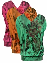 LAST ONE! FINAL SALE! Just Reduced! Tangerine Floral Tropical Sublimation Slinky Plus Size Shirts 4x
