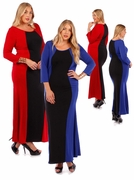 SOLD OUT! SALE! Hot! Plus Size Colorblock Slinky Dresses in Red & Black or Royal & Black! 4x 5x 6x