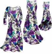 CLEARANCE! Indigo Blue & Purple Bellflowers Floral Slinky Plus Size & Supersize Dresses XL